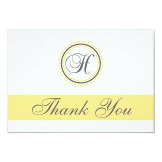 H Dot Circle Monogam Thank You Cards (Yellow/Gray) Custom Invitation