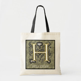 H - Embossed Vintage Monogram (Gold) Canvas Bag