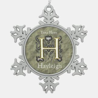 H - Embossed Vintage Monogram (Gold) Pewter Snowflake Decoration