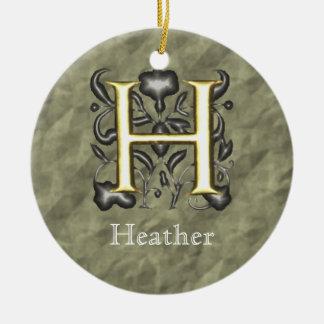 H - Embossed Vintage Monogram (Gold) Round Ceramic Decoration