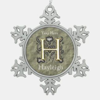 H - Embossed Vintage Monogram (Gold) Snowflake Pewter Christmas Ornament