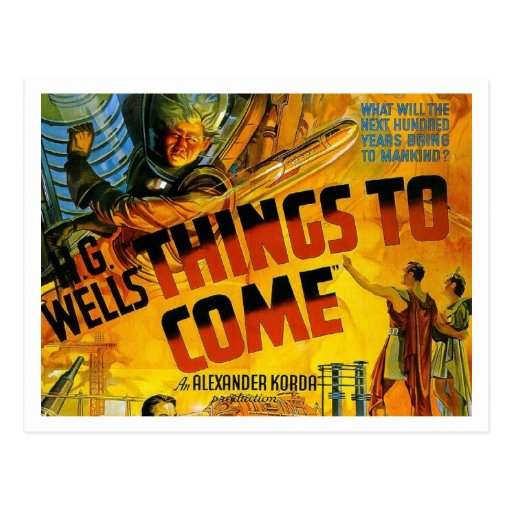 """H. G. Wells' """"Things To Come"""" Postcard"""