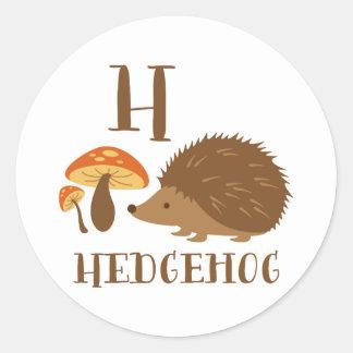 H Hedgehog Classic Round Sticker
