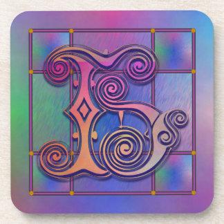 "H Initial ""Blue Rain Glass"" Custom Coasters Drink Coaster"