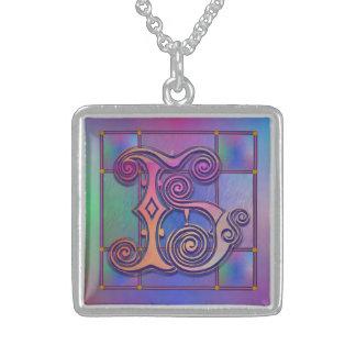 "H Initial Monogram ""Blue Rain Glass"" Necklaces Custom Necklace"