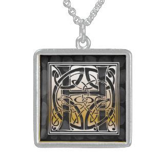"""H Initial Monogram """"Celtic Black Stone"""" Necklaces Pendants"""