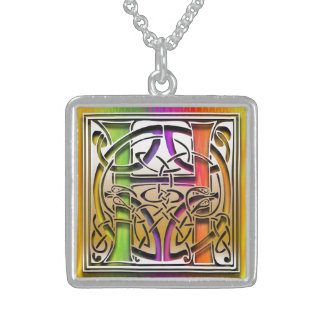 "H Initial Monogram ""Celtic Rainbow"" Necklace Necklaces"
