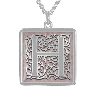 "H Initial Monogram ""Silver Stone"" Necklace"