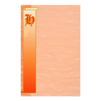 "H Initial ""Peach Sunrise"" Fine Lined Stationery"