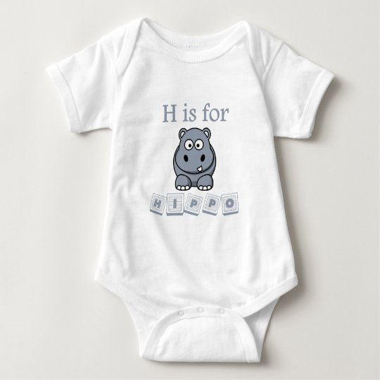 H Is For Hippo Baby Bodysuit