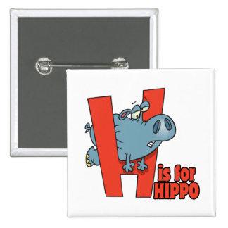 H is for hippo funny alphabet cartoon 15 cm square badge