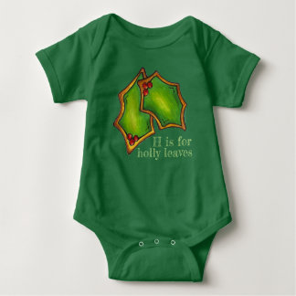 H is for Holly Leaves Green Christmas Cookie Leaf Baby Bodysuit