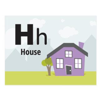 "H is for House - Alphabet Flash Card - 5.5 x 4.25"""