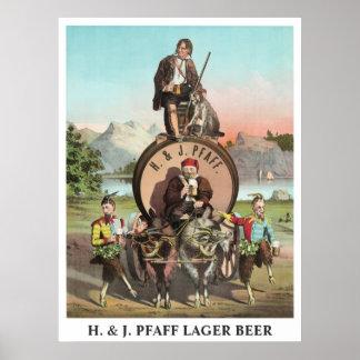 H. & J. Pfaff Lager Beer editable title Poster