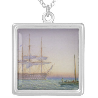 H.M. Frigates at Anchor Silver Plated Necklace