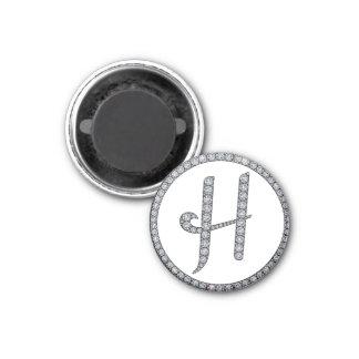 H monogram bling magnet