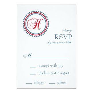 H Monogram Dot Circle RSVP Cards (Red / Blue) Custom Announcements