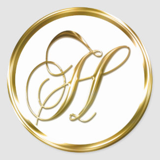 H Monogram Faux Gold Envelope Or Favor Seal Round Sticker