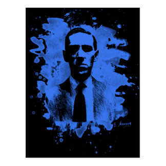 H.P. Lovecraft of tributes (blue) Postcard