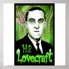 H.P. Lovecraft portrait (green) Poster