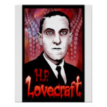 H.P. Lovecraft portrait (red) Poster