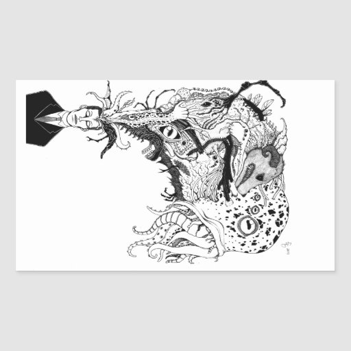 H.P. Lovecraft's monsters Rectangular Stickers
