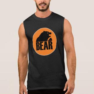 H S Bear Orange Circle (Black) Sleeveless T-shirt