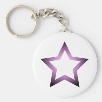 H-Star Purple Basic Round Button Key Ring
