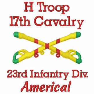 H Trp. 17th Cav. 23rd Inf Div Crossed Sabers Shirt Embroidered Polo Shirts