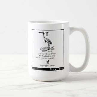 H was a heron basic white mug