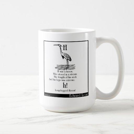 H was a heron mugs