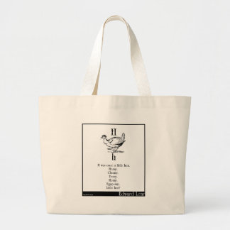 H was once a little hen tote bags