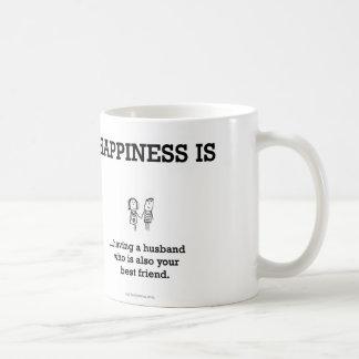 HA803: Happiness Husband Best Friend Basic White Mug