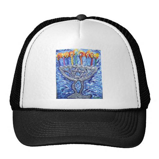 ha ppy hannukah art trucker hats