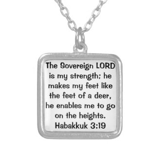 Habakkuk 3:19 bible verse necklace