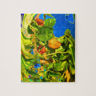 Habanero Peppers on Plant Trippy photo Jigsaw Puzzle