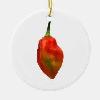 Habanero Single Pepper Photograph Round Ceramic Decoration