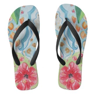 Habiscus Flower and Seashells Flip Flops