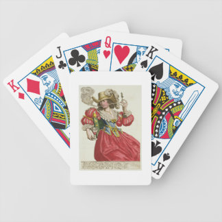 Habit of a wealthy lady about 1630 (coloured engra bicycle playing cards