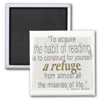 Habit of reading square magnet