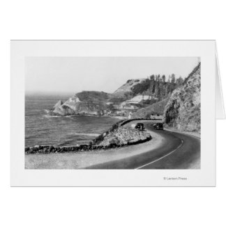 Hacenta Head Lighthouse and Oregon Coast Highway Greeting Card