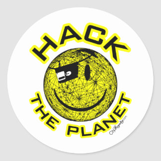 Hack the Planet Round Sticker
