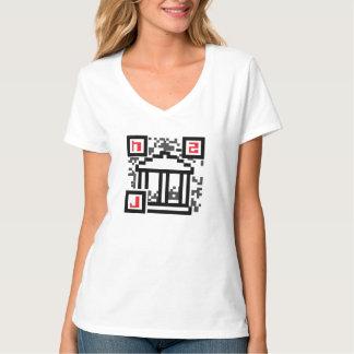 Hackcess to Justice QR Code Logo V-Neck Tee