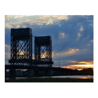 Hackensack Bridge Swirl Sky Postcard