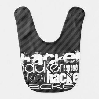 Hacker; Black & Dark Gray Stripes Baby Bibs