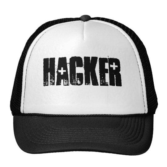Hacker ( Black Print/White cap) Cap
