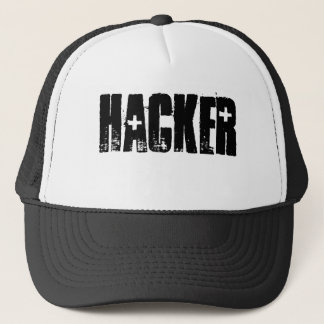 Hacker ( Black Print/White cap) Trucker Hat