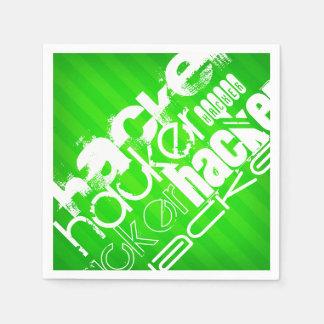 Hacker; Neon Green Stripes Disposable Serviettes
