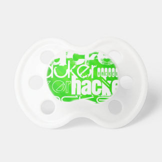 Hacker; Neon Green Stripes Baby Pacifiers
