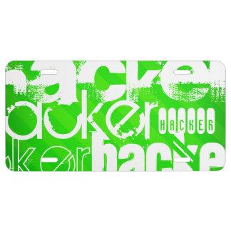 Hacker; Neon Green Stripes License Plate